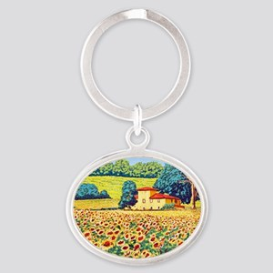 Faces in the Field ap Oval Keychain