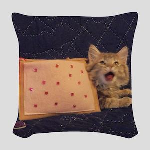 IRL Nyan Pop-Tart Cat  Woven Throw Pillow