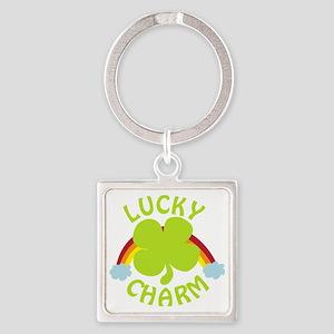 luckycharm_dark Square Keychain