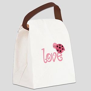 lovebug_dark Canvas Lunch Bag
