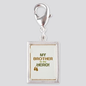 Dog Tag Hero Brother Silver Portrait Charm