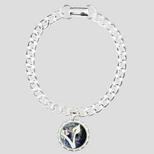World is Vegan Logo Charm Bracelet, One Charm