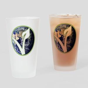 World is Vegan Logo Drinking Glass