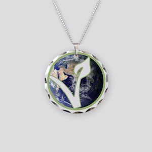 World is Vegan Logo Necklace Circle Charm