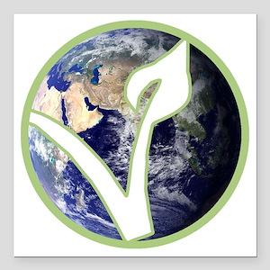 "World is Vegan Logo Square Car Magnet 3"" x 3"""