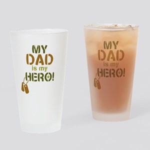 Dog Tag Hero Dad Drinking Glass