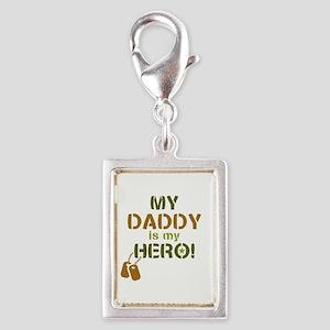 Dog Tag Hero Daddy Silver Portrait Charm
