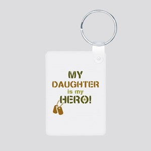 Dog Tag Hero Daughter Aluminum Photo Keychain