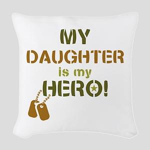 Dog Tag Hero Daughter Woven Throw Pillow
