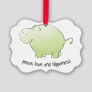 2-green_peace_love_hipponess Picture Ornament