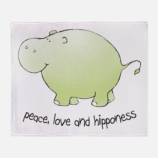 2-green_peace_love_hipponess Throw Blanket