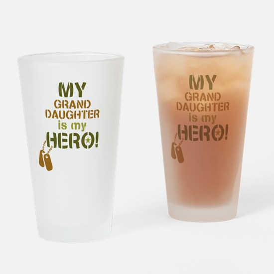 Dog Tag Hero Granddaughter Drinking Glass