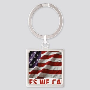 Yes We Can American Flag Square Keychain