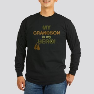 Dog Tag Hero Grandson Long Sleeve Dark T-Shirt