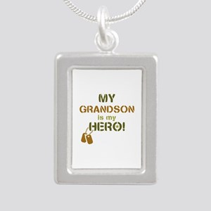 Dog Tag Hero Grandson Silver Portrait Necklace