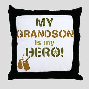 Dog Tag Hero Grandson Throw Pillow