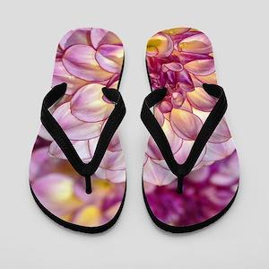 Beautiful pink dahlia flowers Flip Flops