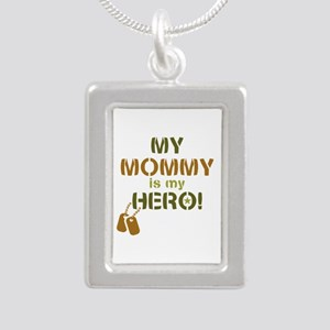 Dog Tag Hero Mommy Silver Portrait Necklace