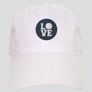 Love Volleyball, Charcoal Gray, round Baseball Cap