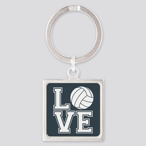 Love Volleyball, Charcoal Gray, square Keychains