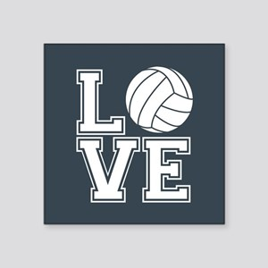 Love Volleyball, Charcoal Gray, square Sticker