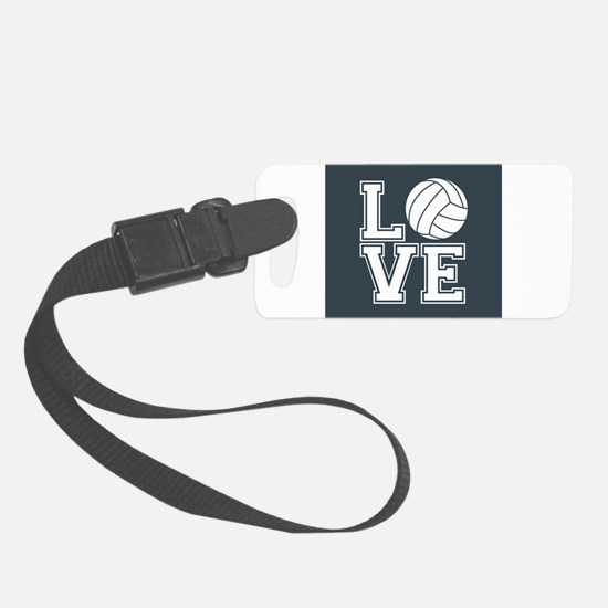 Love Volleyball, Charcoal Gray, square Luggage Tag