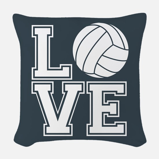 Love Volleyball, Charcoal Gray, square Woven Throw