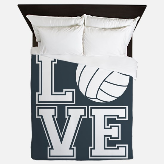 Love Volleyball, Charcoal Gray, square Queen Duvet