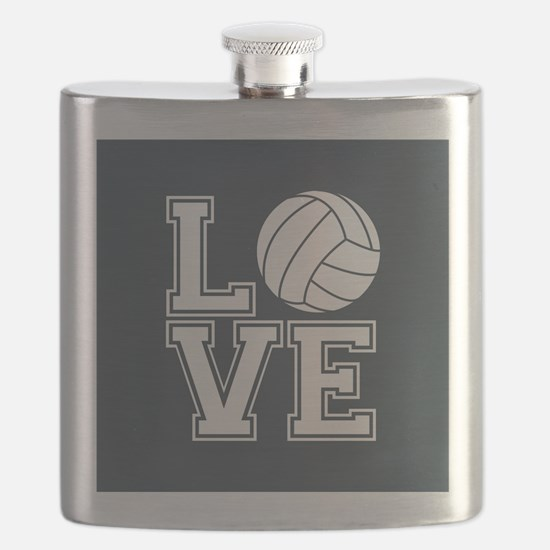 Love Volleyball, Charcoal Gray, square Flask