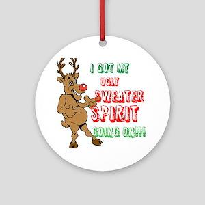 Sydney the Sweater Spirit Reindeer Round Ornament