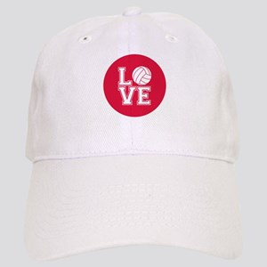 Love Volleyball, Crimson Red, round Baseball Cap