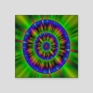 """funky neon green circles ne Square Sticker 3"""" x 3"""""""