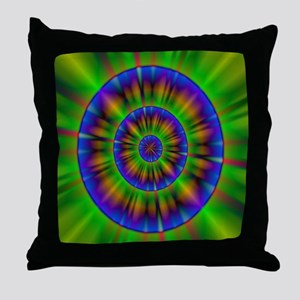 funky neon green circles neon abstrac Throw Pillow