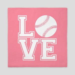 Love Softball, Salmon Pink, square Queen Duvet