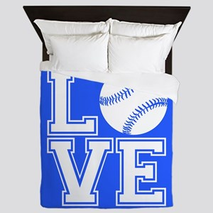Love Softball, Royal Blue, square Queen Duvet