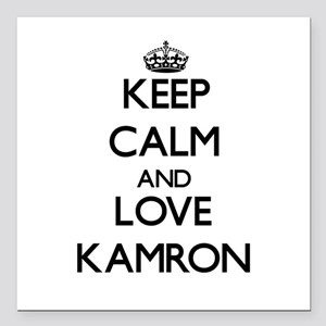 """Keep Calm and Love Kamron Square Car Magnet 3"""" x 3"""