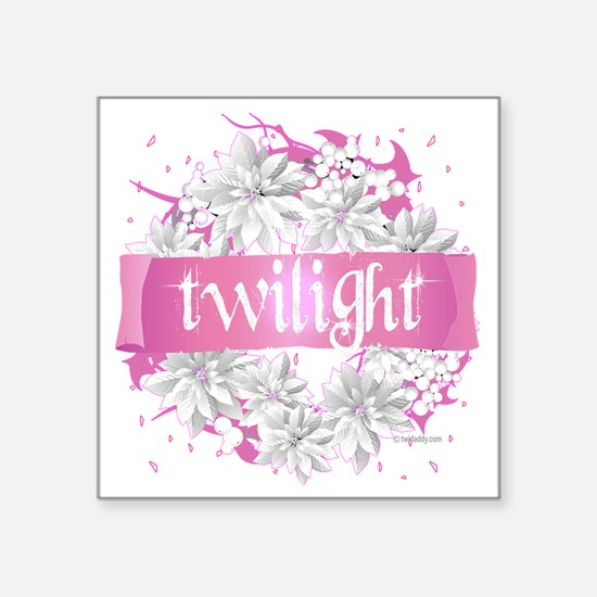 "twilight pink wreath 2 copy Square Sticker 3"" x 3"""