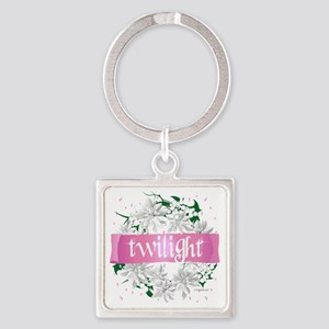 twilight pink and green wreath cop Square Keychain