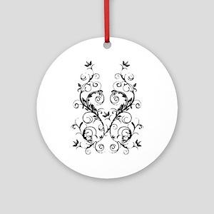 fleurAScrollBdbTR Round Ornament