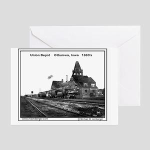 RR-UnionDepot Ottumwa 1880s mousepad Greeting Card