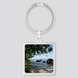NoteCardFront_0008_waterundertrees Square Keychain