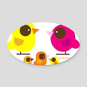 bird family 3 kids Oval Car Magnet