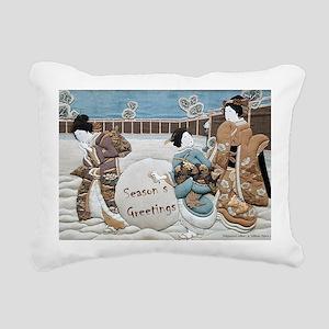 3 Maids Snowball xmas Rectangular Canvas Pillow