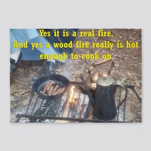 cooking on a real wood fire  5'x7'Area Rug