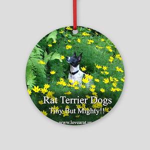 rat_terrier_flowers Round Ornament