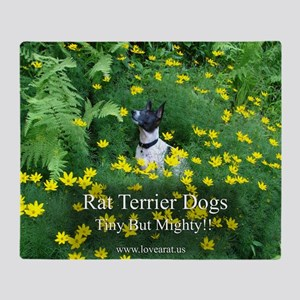 rat_terrier_flowers Throw Blanket