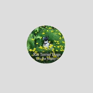 rat_terrier_flowers Mini Button