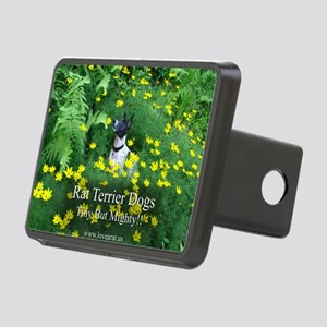 rat_terrier_flowers Rectangular Hitch Cover