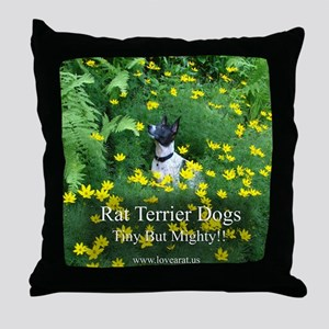rat_terrier_flowers Throw Pillow