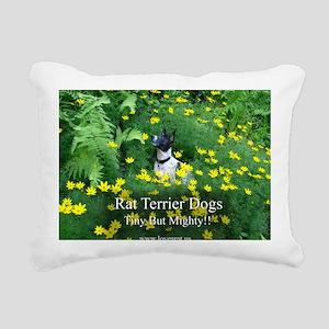 rat_terrier_flowers Rectangular Canvas Pillow